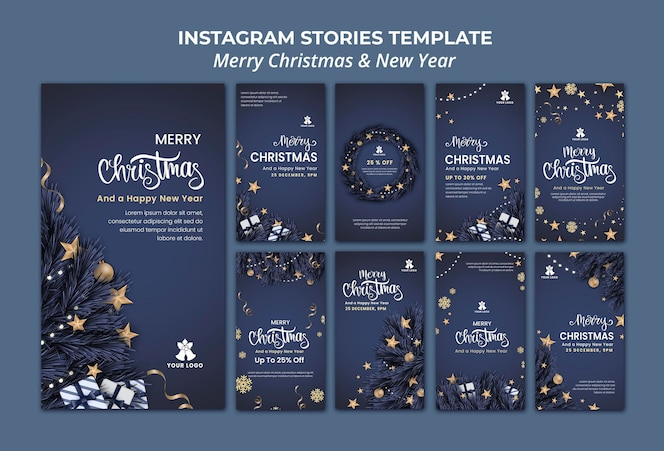 Coleção de histórias do instagram para o natal e ano novo