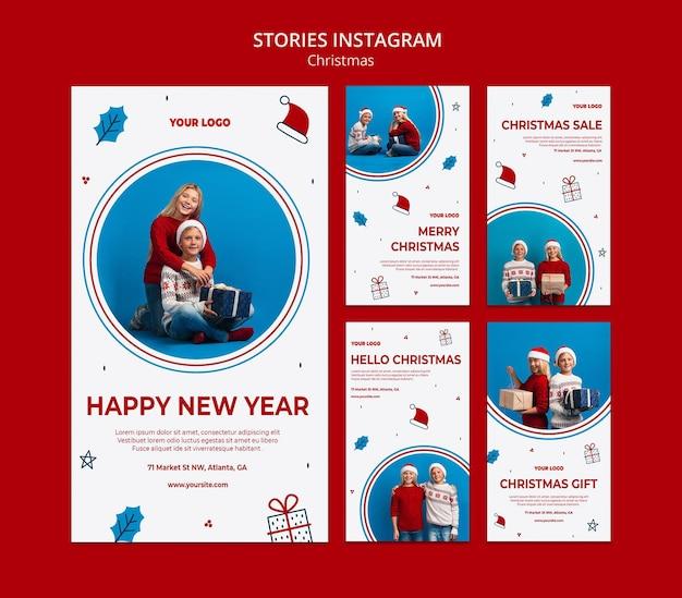 Coleção de histórias do instagram para o natal