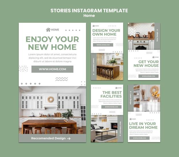 Coleção de histórias do instagram para o novo design de interiores de casas
