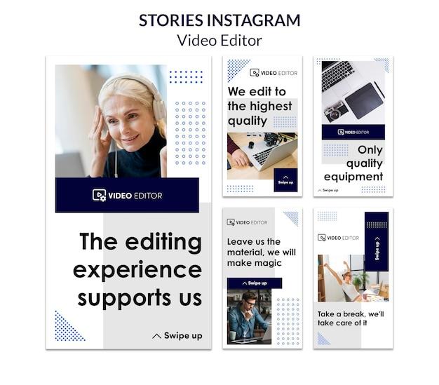 Coleção de histórias do instagram para oficina de edição de vídeo