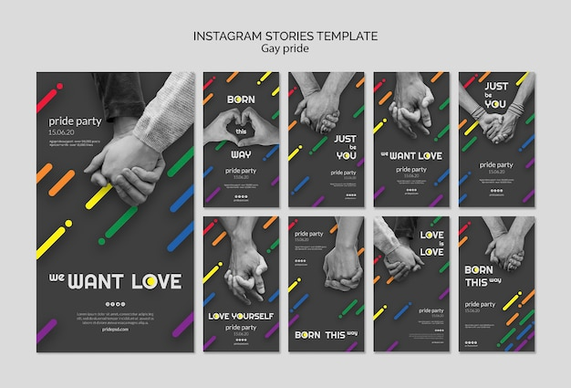 Coleção de histórias do instagram para orgulho gay