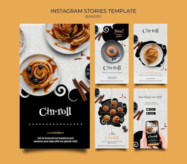 Coleção de histórias do instagram para padaria