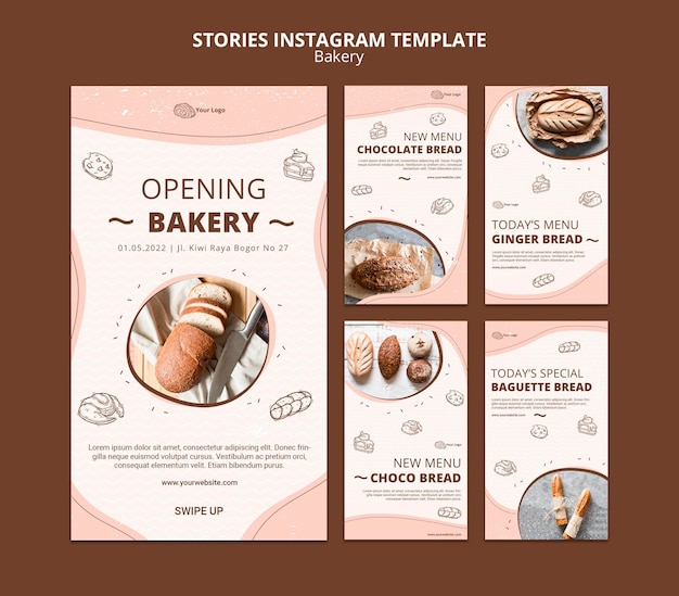 Coleção de histórias do instagram para padarias