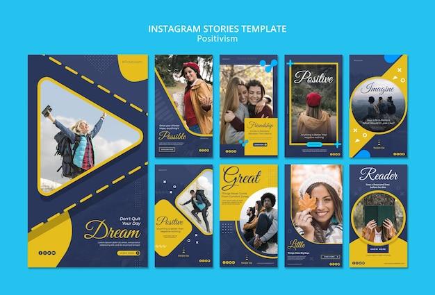 Coleção de histórias do instagram para permanecer positivo