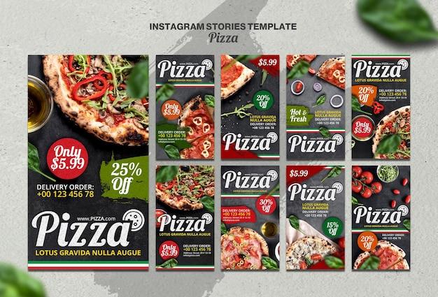 Coleção de histórias do instagram para pizzaria italiana