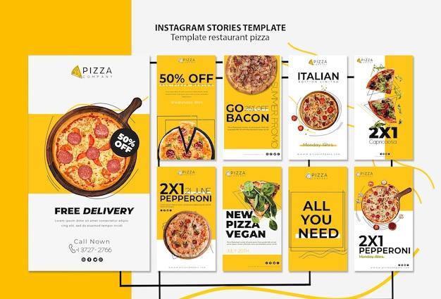 Coleção de histórias do instagram para pizzaria