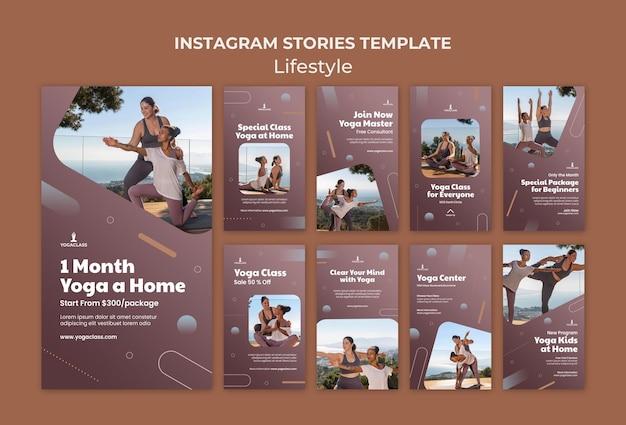 Coleção de histórias do instagram para prática de ioga e exercícios
