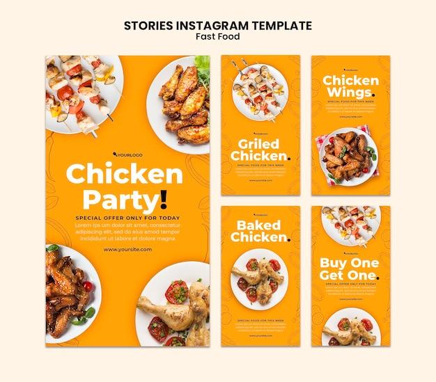 Coleção de histórias do instagram para prato de frango frito