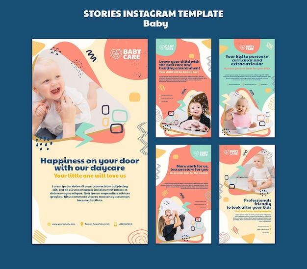 Coleção de histórias do instagram para profissionais de cuidados com bebês