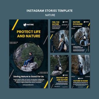 Coleção de histórias do instagram para proteção e preservação da natureza
