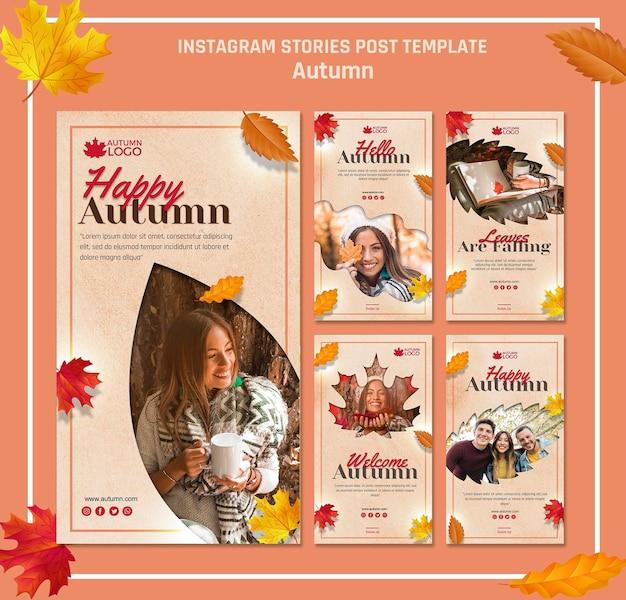 Coleção de histórias do instagram para receber a temporada de outono