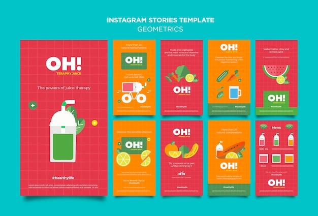Coleção de histórias do instagram para receitas de smoothies de frutas