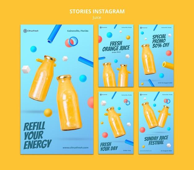 Coleção de histórias do instagram para refrescante suco de laranja em garrafas de vidro