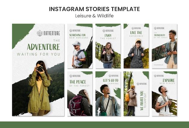 Coleção de histórias do instagram para relaxamento e aventura