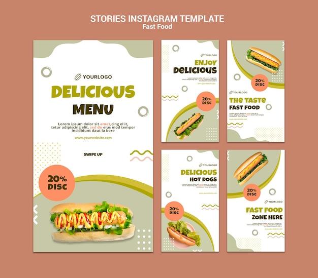 Coleção de histórias do instagram para restaurante de cachorro-quente