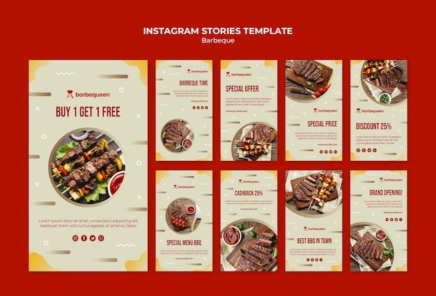 Coleção de histórias do instagram para restaurante de churrasco