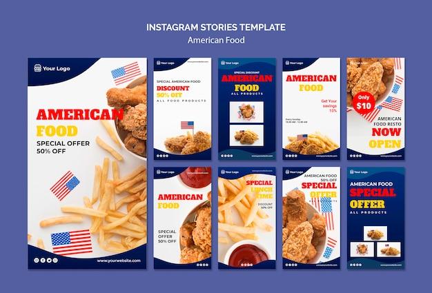 Coleção de histórias do instagram para restaurante de comida americana