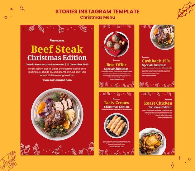 Coleção de histórias do instagram para restaurante de comida de natal