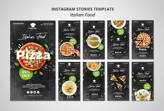 Coleção de histórias do instagram para restaurante de comida italiana tradicional