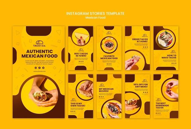 Coleção de histórias do instagram para restaurante de comida mexicana