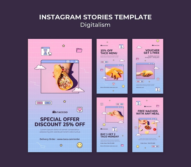 Coleção de histórias do instagram para restaurante de comida mexicana Psd Premium