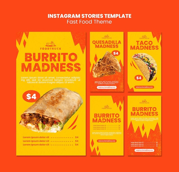 Coleção de histórias do instagram para restaurante de fast food