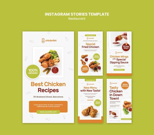 Coleção de histórias do instagram para restaurante de frango frito