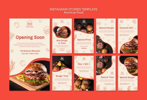 Coleção de histórias do instagram para restaurante de hambúrguer