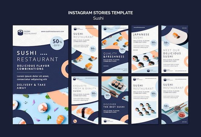Coleção de histórias do instagram para restaurante de sushi