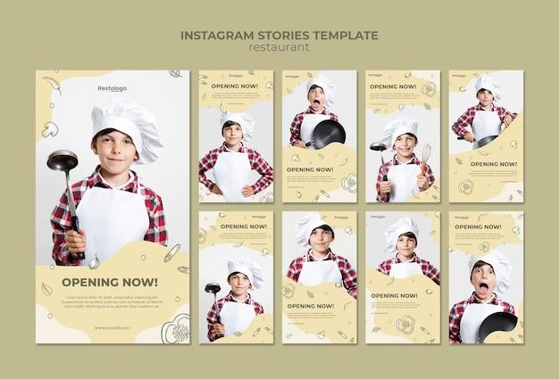 Coleção de histórias do instagram para restaurante