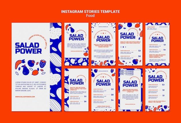 Coleção de histórias do instagram para salada