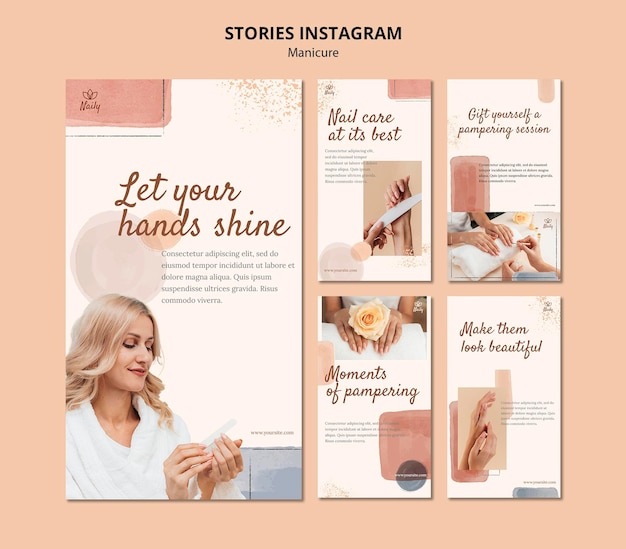 Coleção de histórias do instagram para salão de manicure