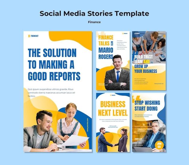 Coleção de histórias do instagram para seminário de negócios e finanças