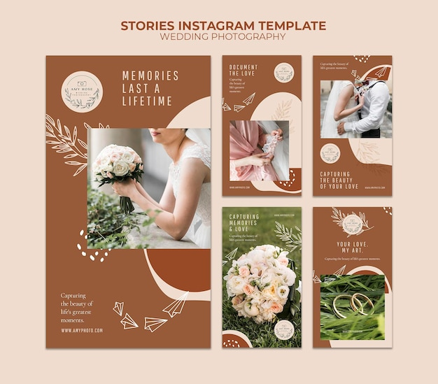 Coleção de histórias do instagram para serviço de fotografia de casamento