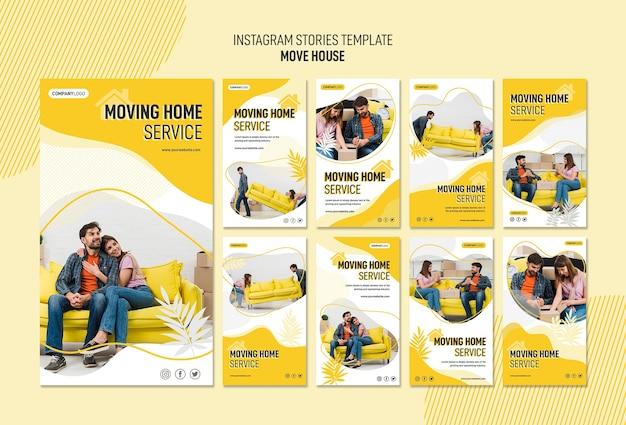 Coleção de histórias do instagram para serviços de realocação de casas