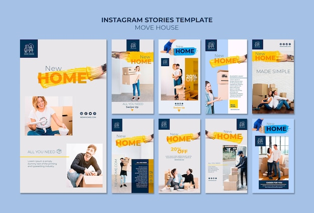 Coleção de histórias do instagram para serviços de realocação doméstica