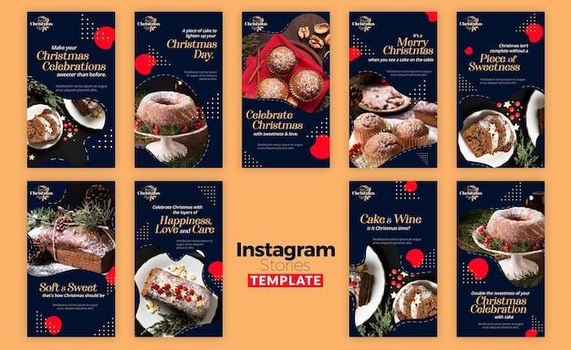 Coleção de histórias do instagram para sobremesas tradicionais de natal