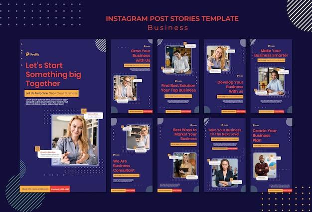 Coleção de histórias do instagram para soluções de negócios profissionais