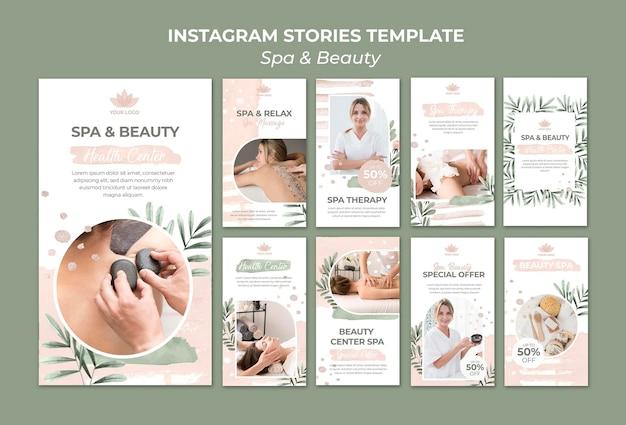 Coleção de histórias do instagram para spa e terapia