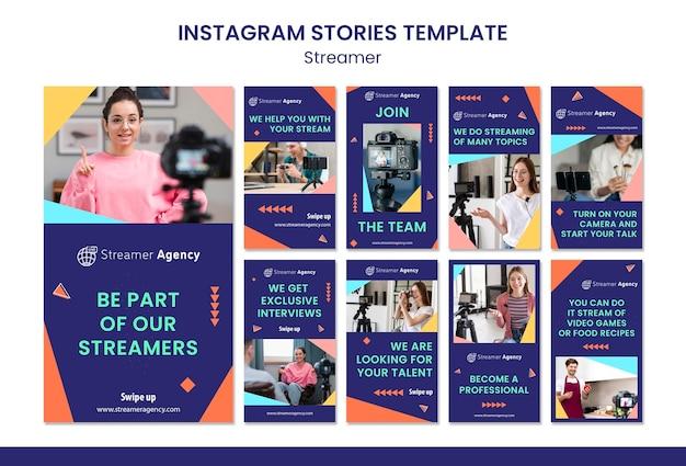 Coleção de histórias do instagram para streaming de conteúdo online