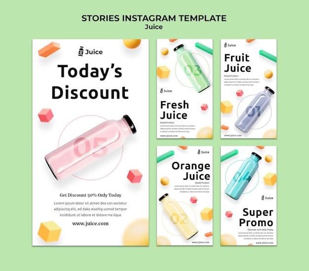 Coleção de histórias do instagram para suco de fruta em garrafa de vidro