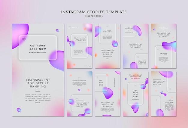 Coleção de histórias do instagram para transações bancárias transparentes e seguras