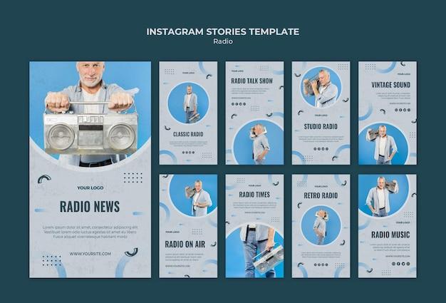 Coleção de histórias do instagram para transmissão de rádio