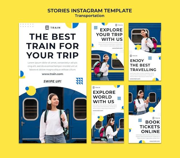 Coleção de histórias do instagram para transporte público de trem com mulher