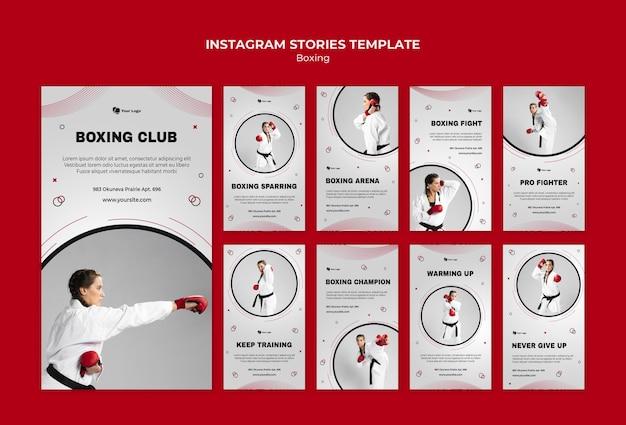 Coleção de histórias do instagram para treinamento de boxe