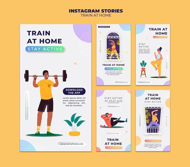 Coleção de histórias do instagram para treinamento físico em casa