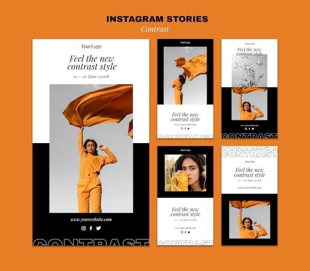 Coleção de histórias do instagram para um estilo contrastante