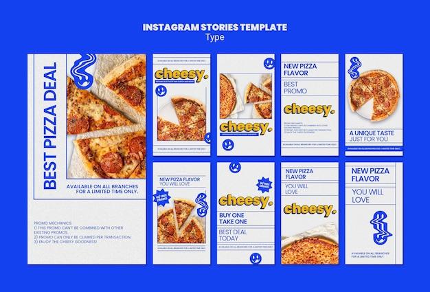 Coleção de histórias do instagram para um novo sabor de pizza de queijo
