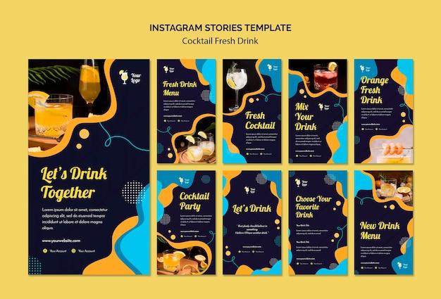 Coleção de histórias do instagram para uma variedade de coquetéis