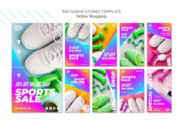 Coleção de histórias do instagram para venda de esportes on-line